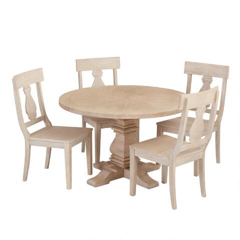 Surprising Round Blonde Wood Plank Arcadia Dining Table Ncnpc Chair Design For Home Ncnpcorg