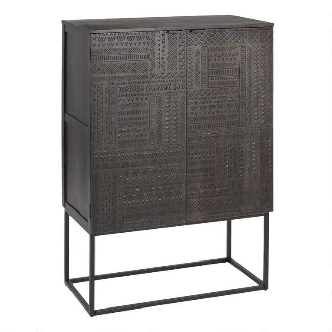 Black Geometric Hand Carved Samir Bar Cabinet