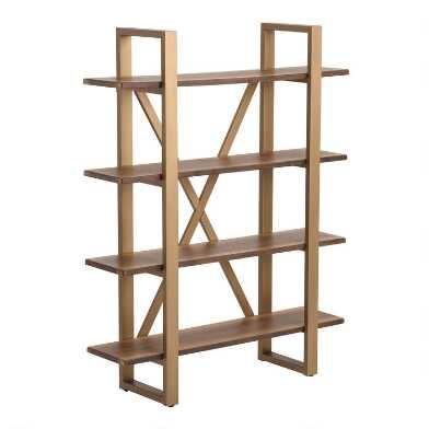 Wood and Gold Metal Sloan Bookshelf