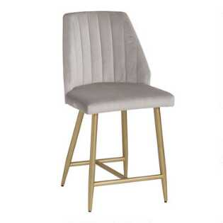 d3fc15013 Dove Gray Channel Back Leilani Counter Stool Set of 2