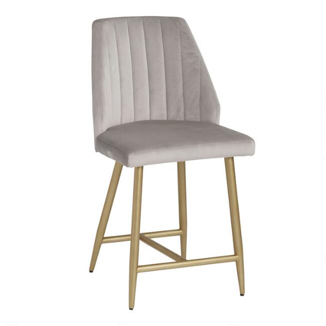 Dove Gray Channel Back Leilani Counter Stool Set of 2