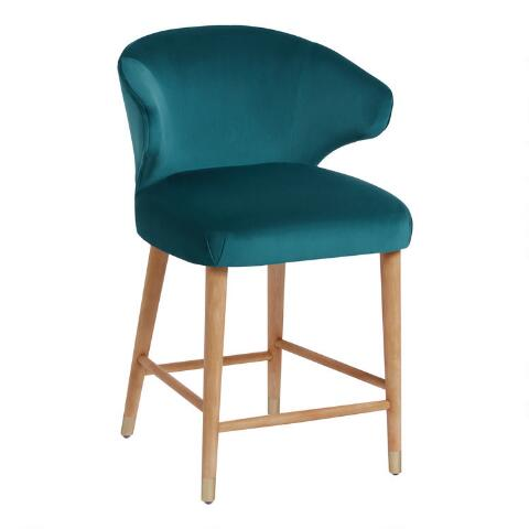 Incredible Peacock Blue Alissa Upholstered Counter Stool Machost Co Dining Chair Design Ideas Machostcouk