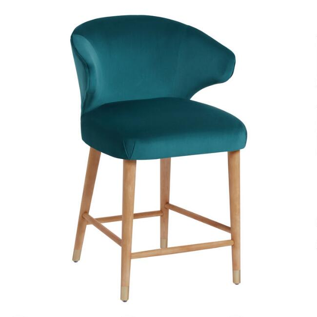 Peacock Blue Alissa Upholstered Counter Stool