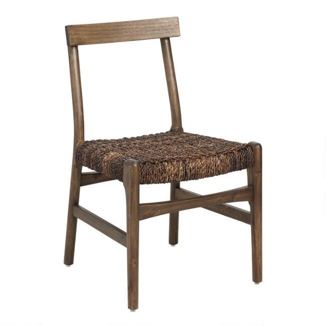 Beech Wood and Woven Abaca Nias Dining Chairs Set of 2