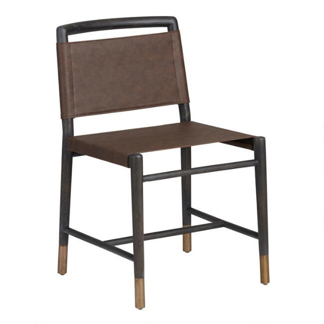 Brown Faux Leather Ayden Dining Chairs Set of 2