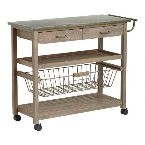 Mango Wood and Steel Maximos Kitchen Cart