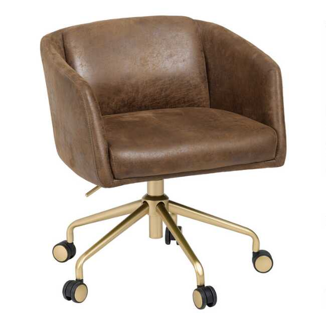 Pleasing Brown Faux Suede Brenden Upholstered Office Chair Alphanode Cool Chair Designs And Ideas Alphanodeonline