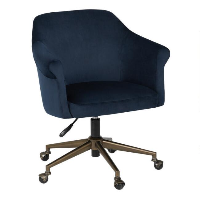 Navy Blue Velvet Declan Upholstered Office Chair