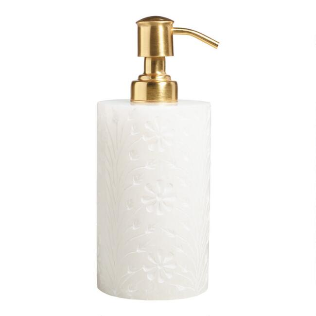 White Carved Floral Alabaster Soap Dispenser