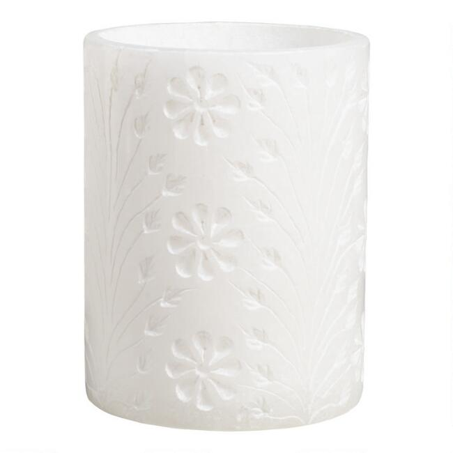 White Carved Floral Alabaster Tumbler