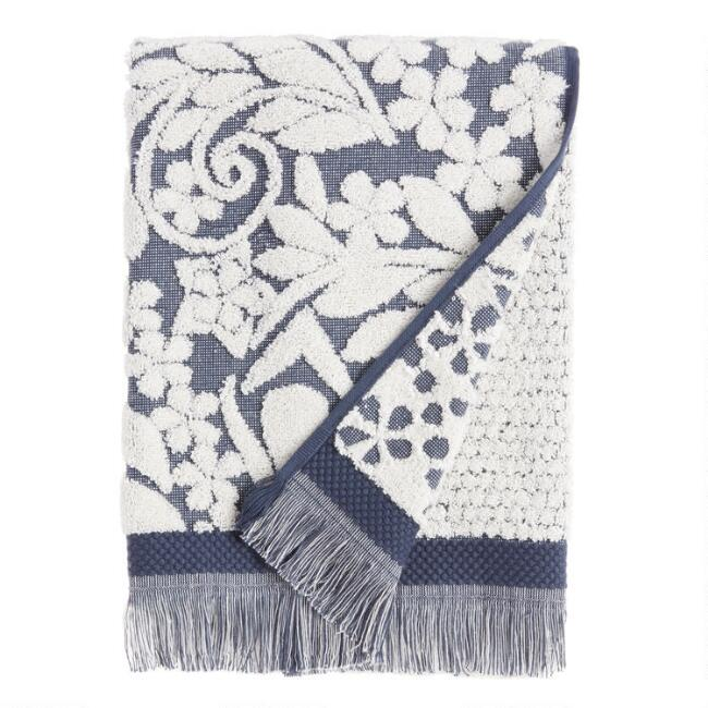Indigo and Ivory Sculpted Paisley Araya Bath Towel