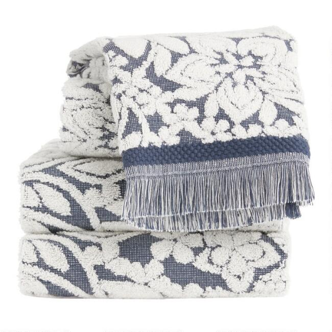Indigo and Ivory Sculpted Paisley Araya Towel Collection