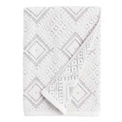 Ivory and Black Diamond Honeycomb Zena Bath Towel