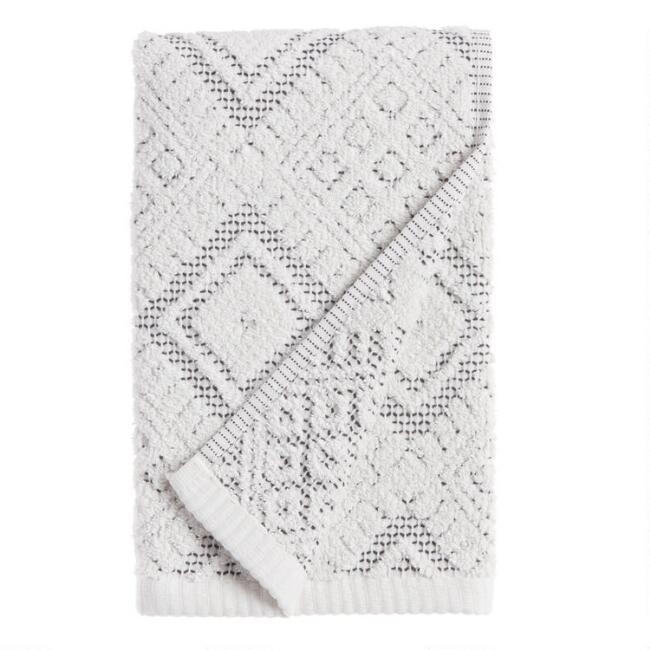 Ivory and Black Diamond Honeycomb Zena Hand Towel