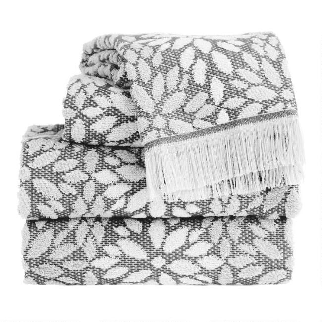 Gray and Ivory Sculpted Petals Helena Towel Collection