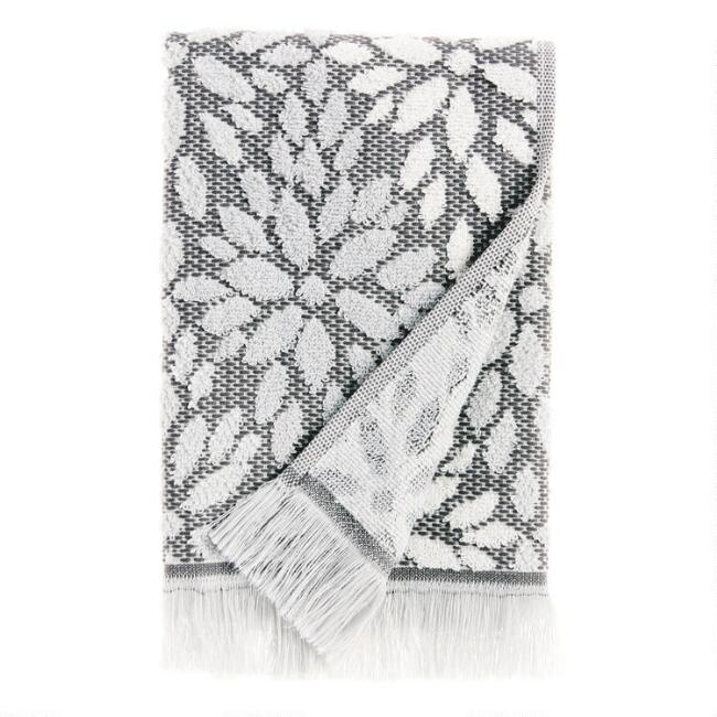 Gray and Ivory Sculpted Petals Helena Hand Towel