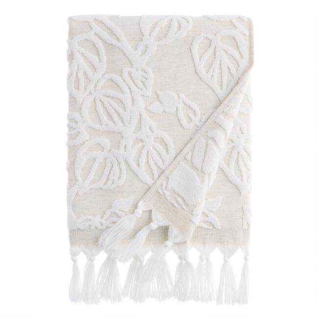 Natural and White Sculpted Vine Katsura Bath Towel