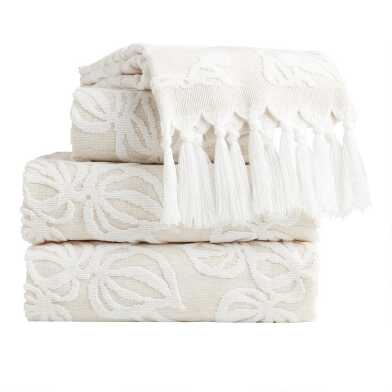 Natural and White Sculpted Vine Katsura Towel Collection