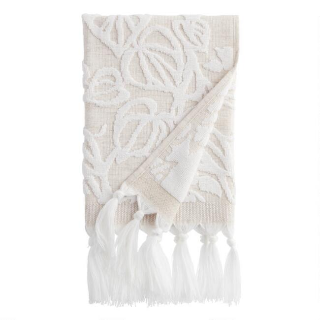 Natural and White Sculpted Vine Katsura Hand Towel