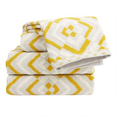 Gray and Cress Green Sculpted Diamond Jess Towel Collection