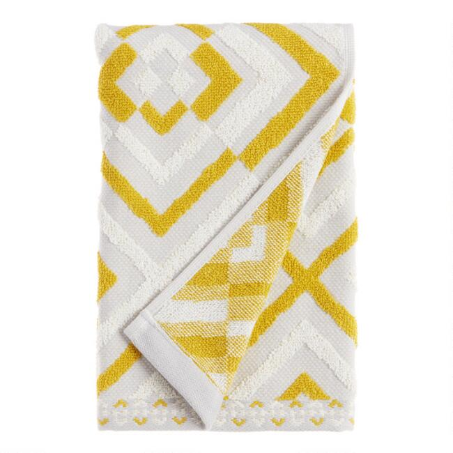 Gray and Cress Green Sculpted Diamond Jess Hand Towel
