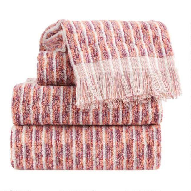 Terracotta and Lavender Jacquard Lina Towel Collection