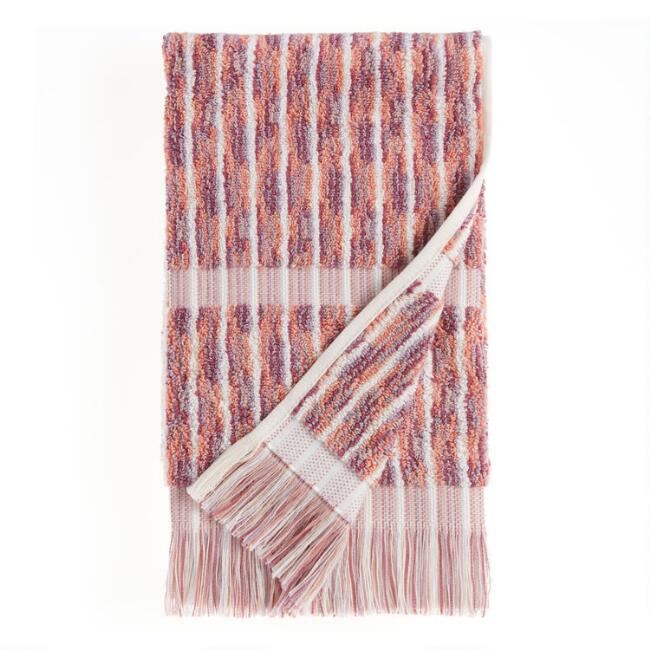 Terracotta and Lavender Jacquard Lina Hand Towel