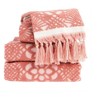 Terracotta and Ivory Sculpted Tile Marleigh Towel Collection