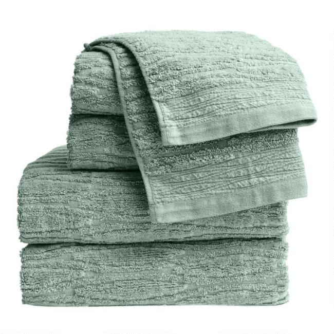 Jadeite Sunfaded Sculpted Bella Towel Collection