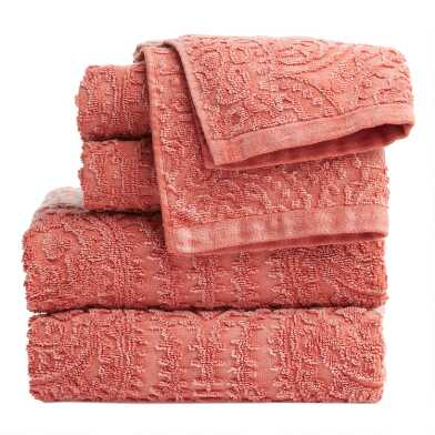 Coral Sunfaded Sculpted Paisley Raquel Towel Collection