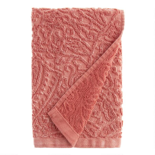 Coral Sunfaded Sculpted Raquel Hand Towel
