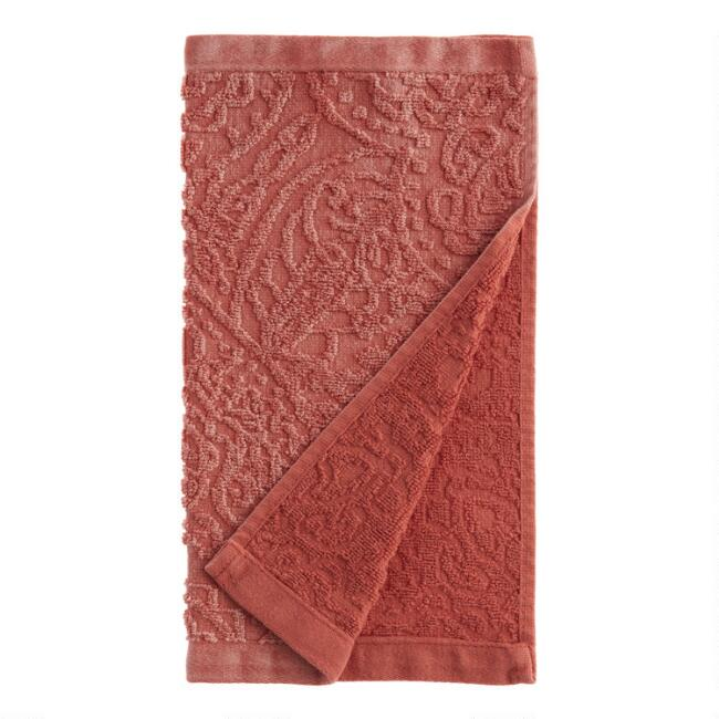 Coral Sunfaded Sculpted Paisley Raquel Washcloths Set of 2