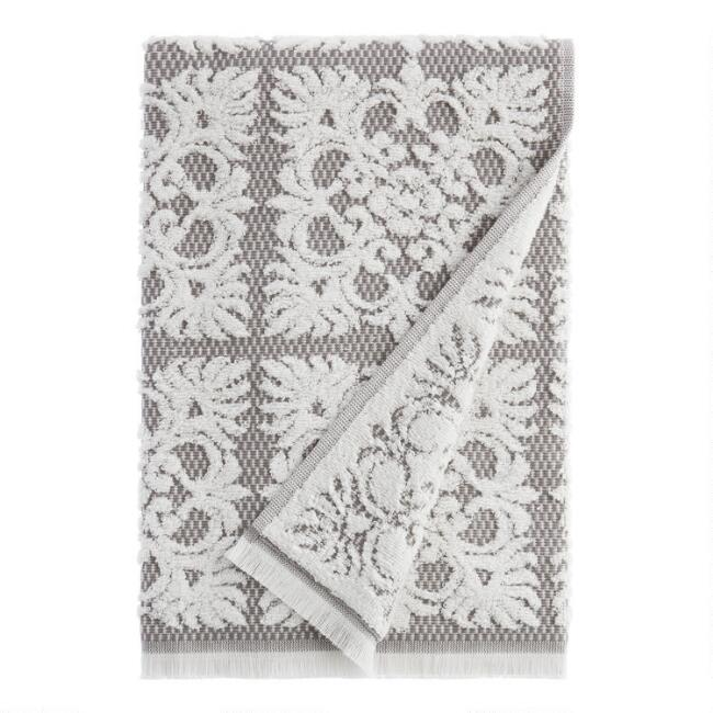 Gray and White Sculpted Medallion Frida Bath Towel