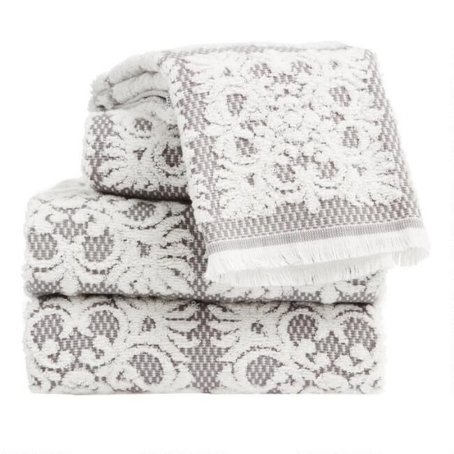 Gray and White Sculpted Medallion Frida Towel Collection