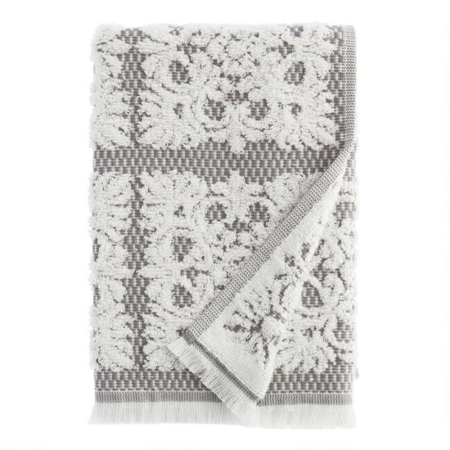 Gray and White Sculpted Medallion Frida Hand Towel