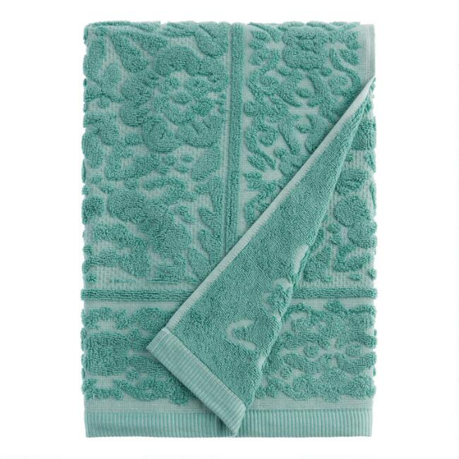 Aquamarine Sculpted Floral Melia Bath Towel
