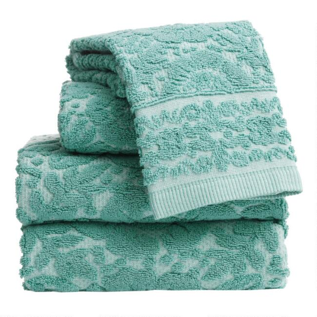 Aquamarine Sculpted Floral Melia Towel Collection