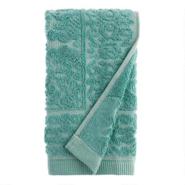 Aquamarine Sculpted Floral Melia Hand Towel