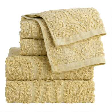 Mustard Sunfaded Sculpted Raquel Towel Collection