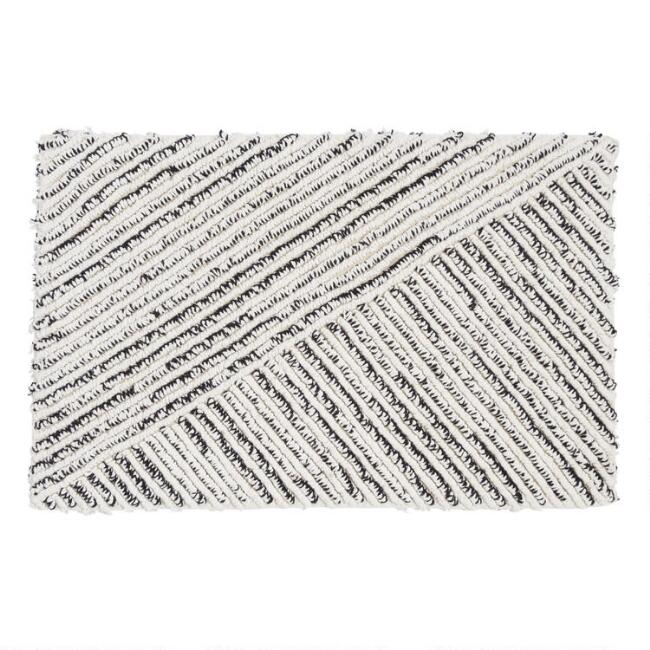 Black and Ivory Triangles Reversible Bath Mat