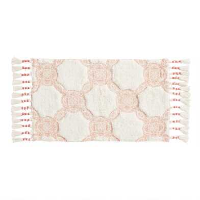 Terracotta and Ivory Trellis Bath Mat
