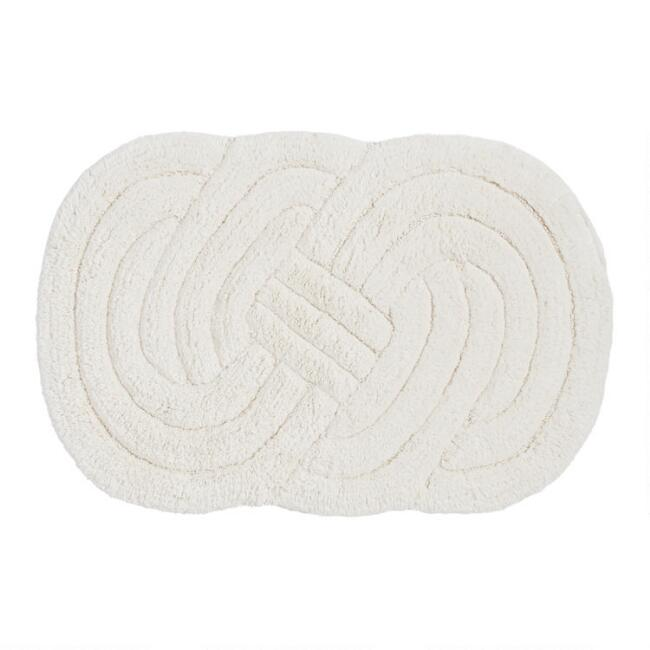 Ivory Lover's Knot Tufted Bath Mat