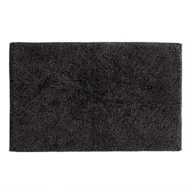 Black Stonewashed Triangles Reversible Bath Mat