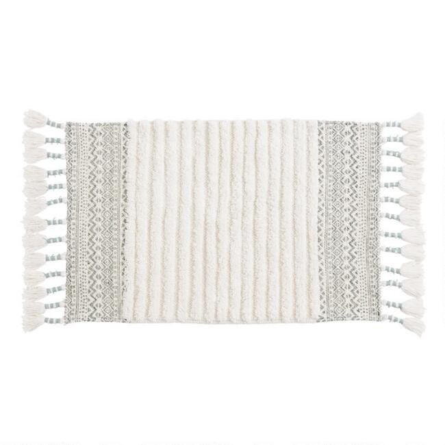 Jadeite and Ivory Geometric Tufted Stripe Bath Mat