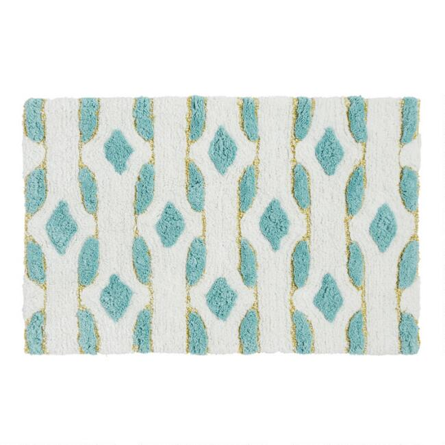 Ivory and Aquamarine Geometric Tufted Bath Mat