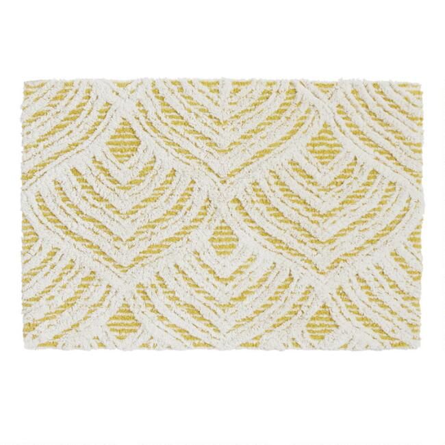 Cress Green Lotus Tufted Bath Mat