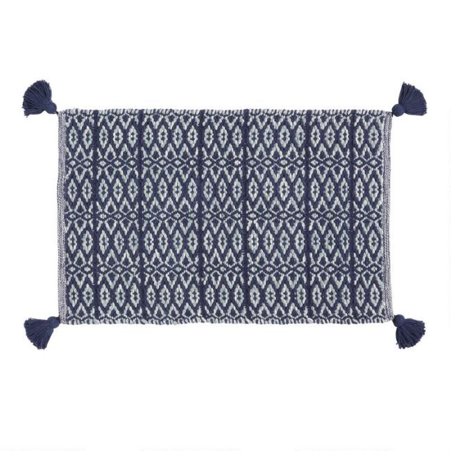 Indigo and White Geo Woven Bath Mat