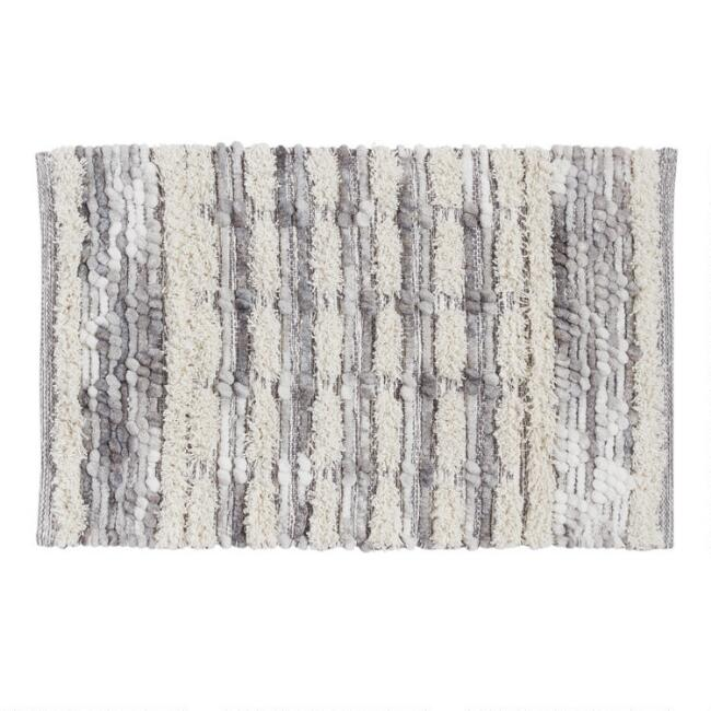 Gray and Ivory Textured Chenille Stripe Bath Mat