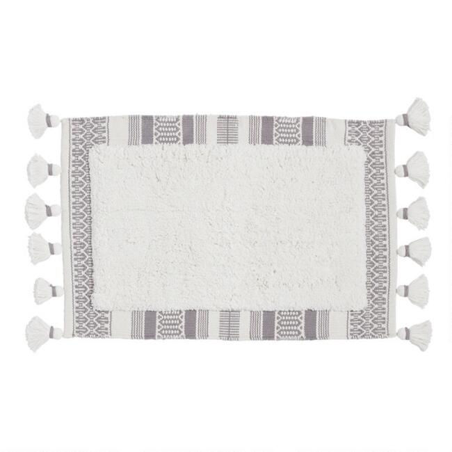 Ivory and Gray Woven Stripe Border Bath Mat