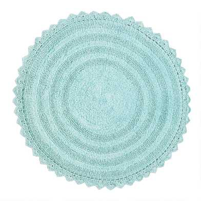 Round Aquamarine Cotton Bath Mat